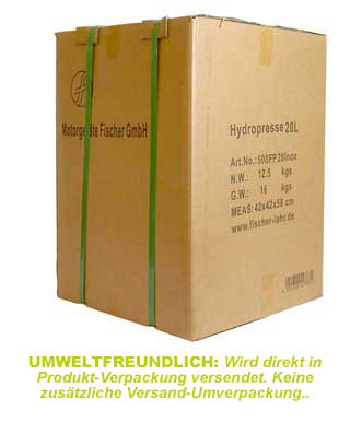 Fischer lahr: Hydropresse mit umweltfreundlicher Versandverpackung