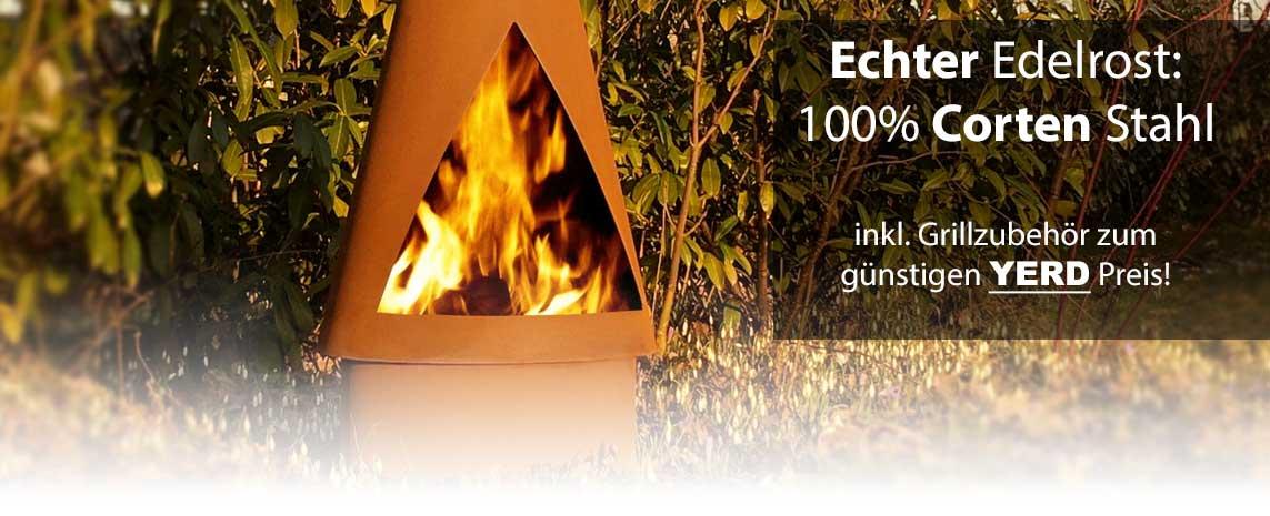 Gartenkamin / Feuerstelle mit Grill aus Corten-Stahl