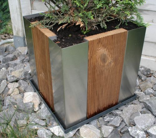 Lagerverkauf: Edelstahl/Holz Pflanzkübel Cubus34 -- Made in ...