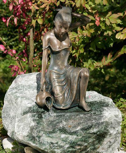 Bronze figur gartenfigur skulptur letizia klein 35 cm hoch wasserspeier brunnen yerd - Gartendeko brunnen ...