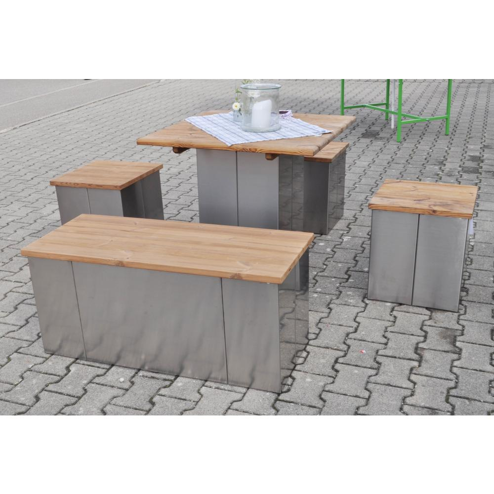 edelstahl garten sitzbank hocker bierbank mit theratherm kiefer sitzfl che 120 x 43 cm. Black Bedroom Furniture Sets. Home Design Ideas