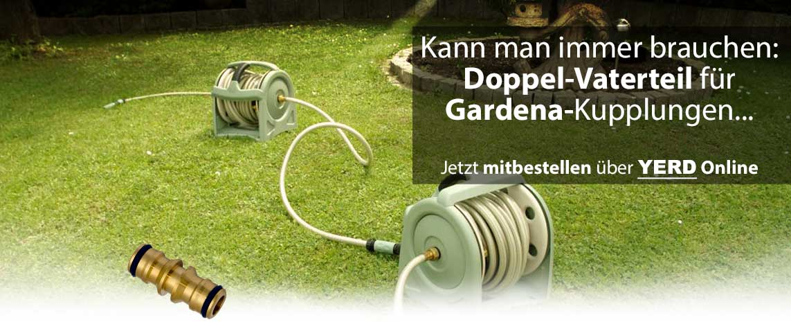 Doppelvaterteil Gardena-Kupplung Messing