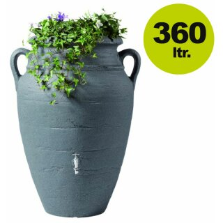 Graf Antik Regenwasser-Amphore mit Pflanzschale, 360 Liter in dark granite, made in Germany