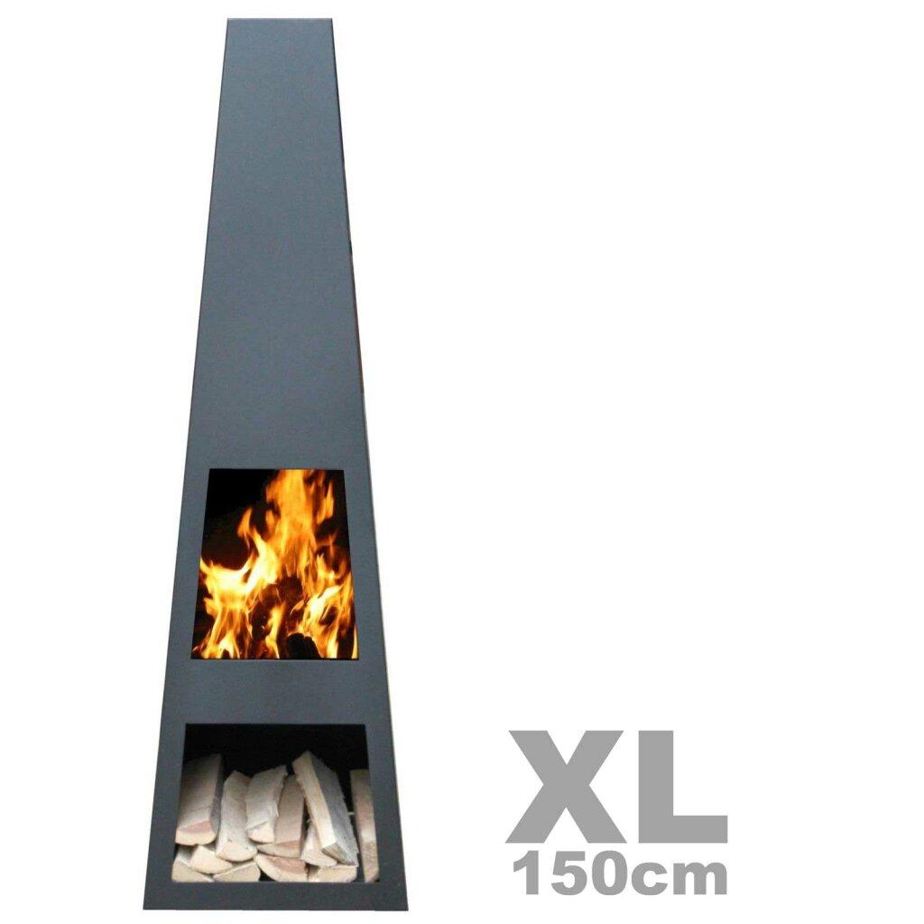 Original Gartenkamin / Terrassen-Feuerstelle Vilos XL Black, Kamin 150cm,  versandkostenfrei** by YERD