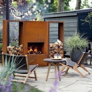 Terrassen-Kamin / Terrassen-Heizung: Original Feuerstelle Pinacate Corten  (Edelrost), inkl. 4 Rollen, Ofenrohr-Anschluss, Kamin 150cm, echter ...