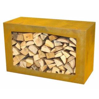 Yerd Holzbox Sehr Stabiles Corten Stahl Kaminholz Regal 80x50x35cm