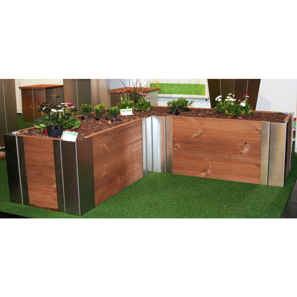 edelstahlinnenecke f r hochbeete 80 cm hoch yerd gartendeko gartentechnik und landtechnik. Black Bedroom Furniture Sets. Home Design Ideas